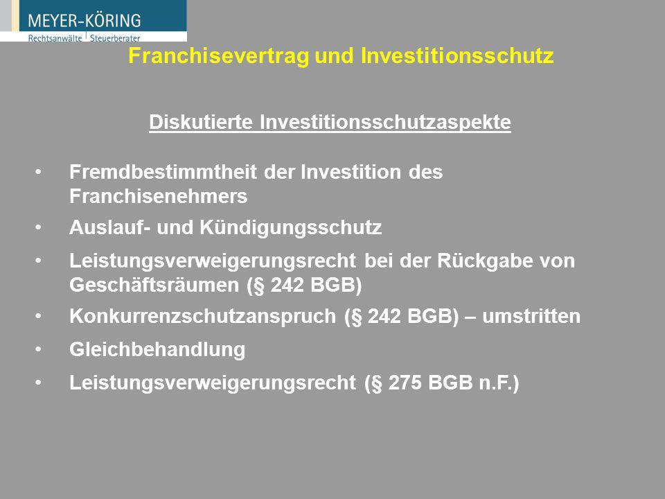 Diskutierte Investitionsschutzaspekte