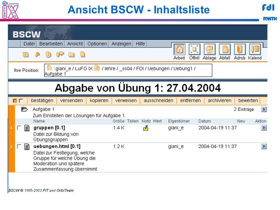 Ansicht BSCW - Inhaltsliste