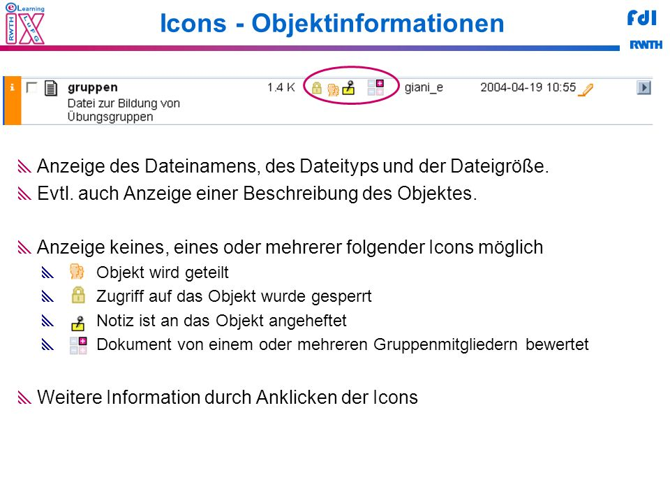 Icons - Objektinformationen