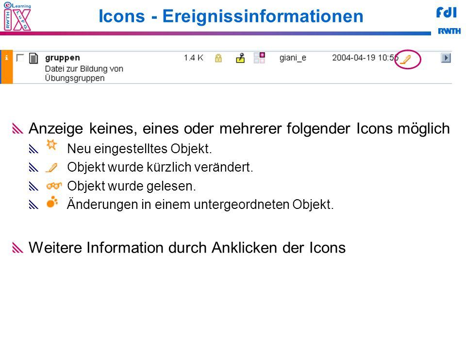 Icons - Ereignissinformationen