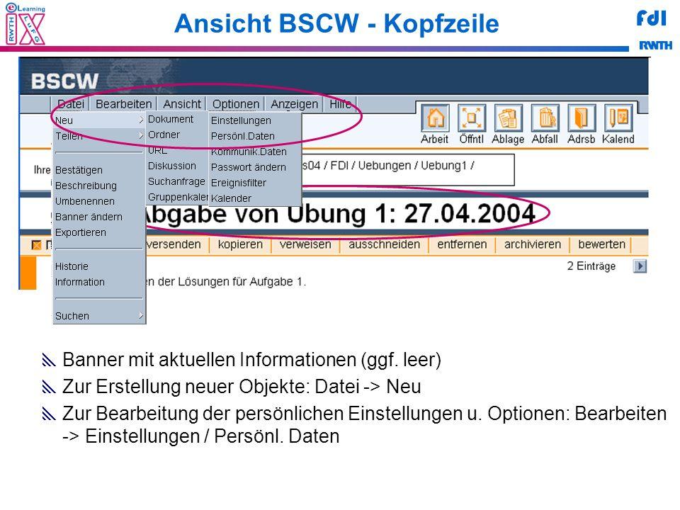 Ansicht BSCW - Kopfzeile