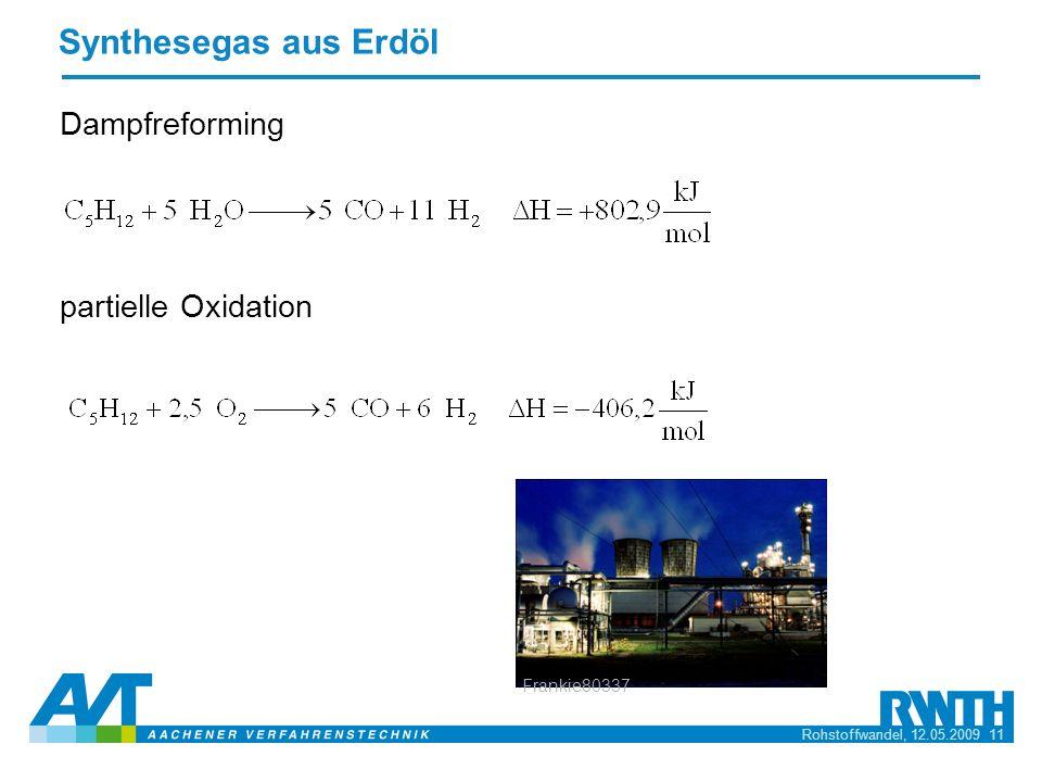 Synthesegas aus Erdöl Dampfreforming partielle Oxidation Frankie80337
