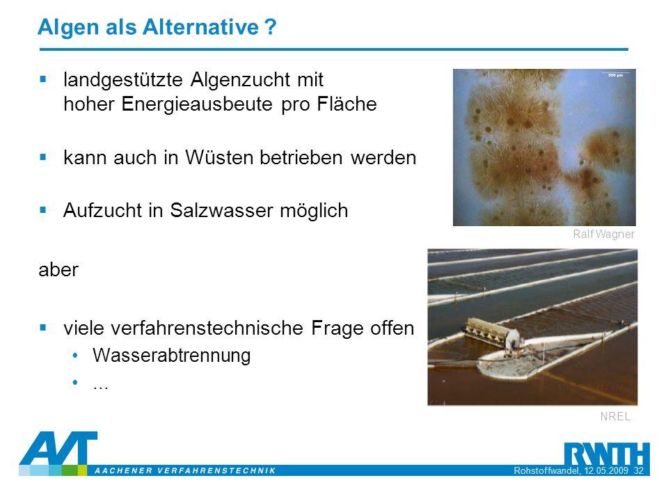 Algen als Alternative landgestützte Algenzucht mit hoher Energieausbeute pro Fläche. kann auch in Wüsten betrieben werden.