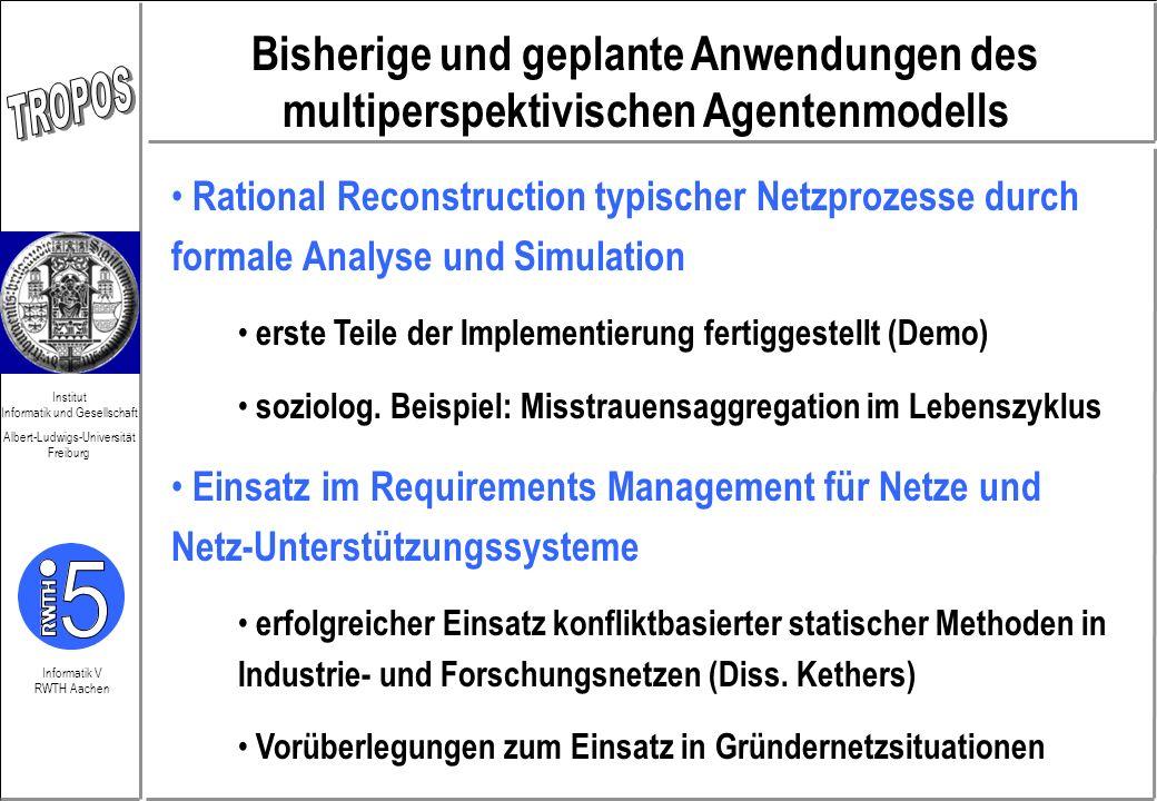 Bisherige und geplante Anwendungen des multiperspektivischen Agentenmodells