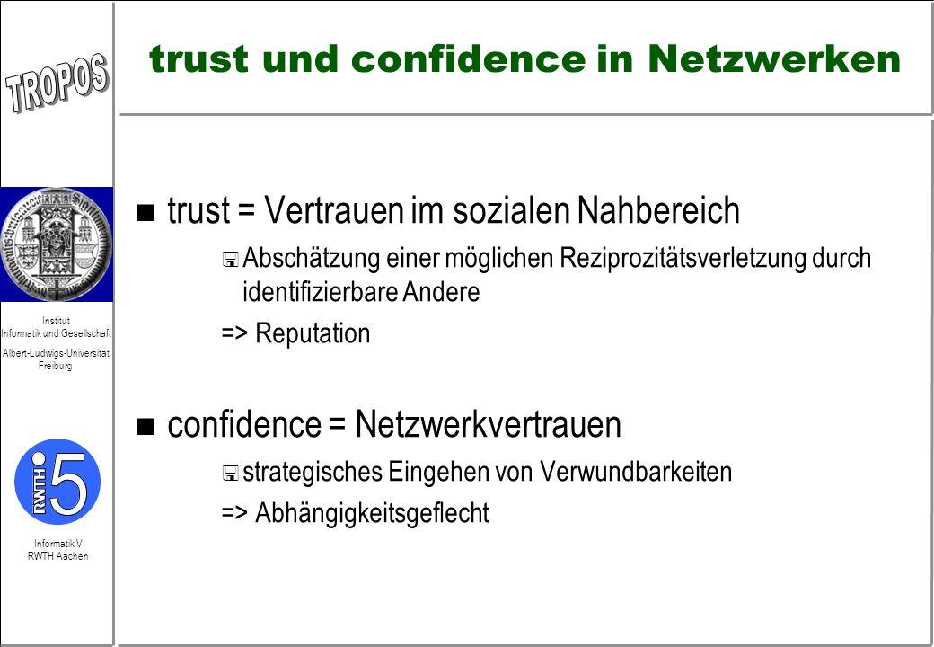 trust und confidence in Netzwerken