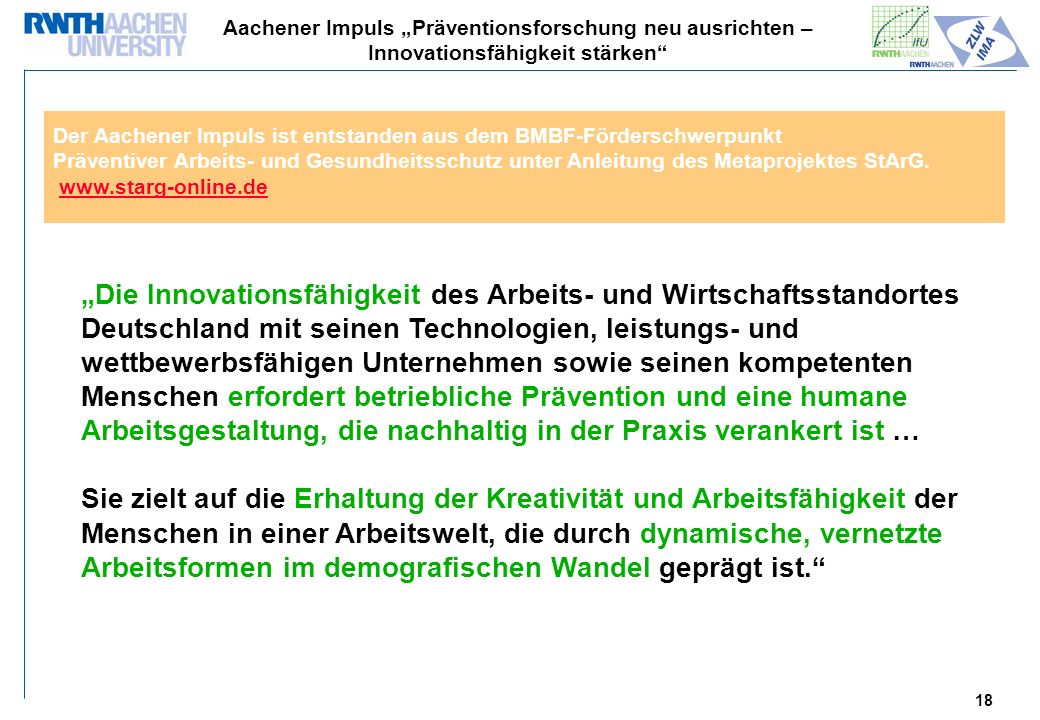 "Aachener Impuls ""Präventionsforschung neu ausrichten – Innovationsfähigkeit stärken"