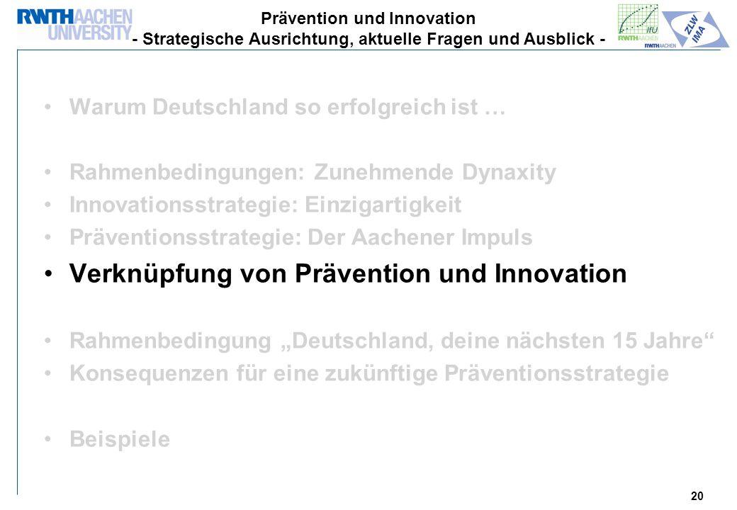 Verknüpfung von Prävention und Innovation