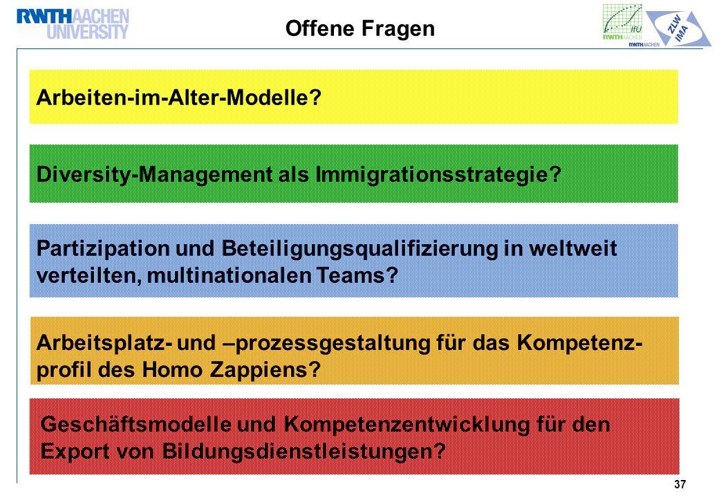 Offene Fragen Arbeiten-im-Alter-Modelle Diversity-Management als Immigrationsstrategie Partizipation und Beteiligungsqualifizierung in weltweit.