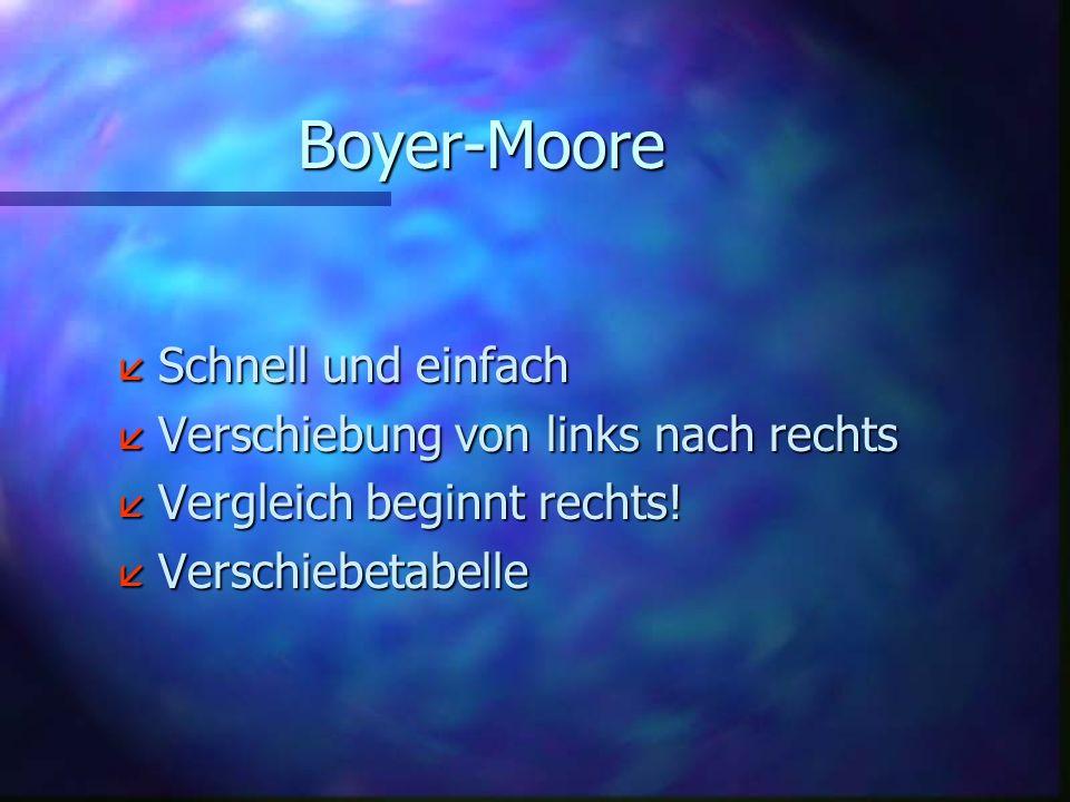 Boyer-Moore Schnell und einfach Verschiebung von links nach rechts