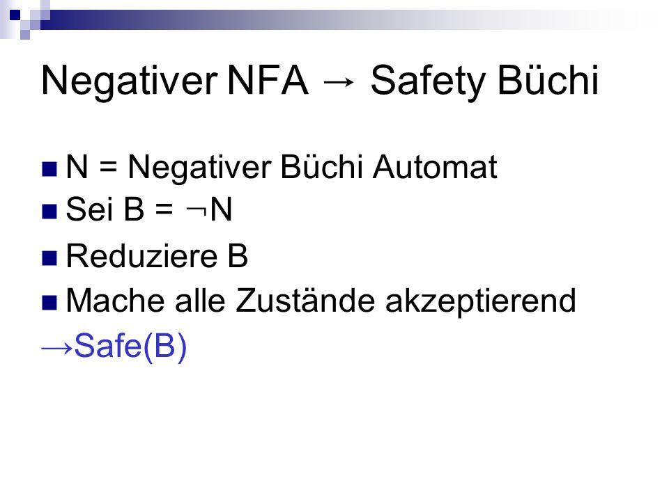 Negativer NFA → Safety Büchi