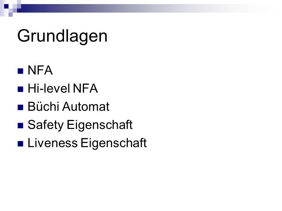 Grundlagen NFA Hi-level NFA Büchi Automat Safety Eigenschaft
