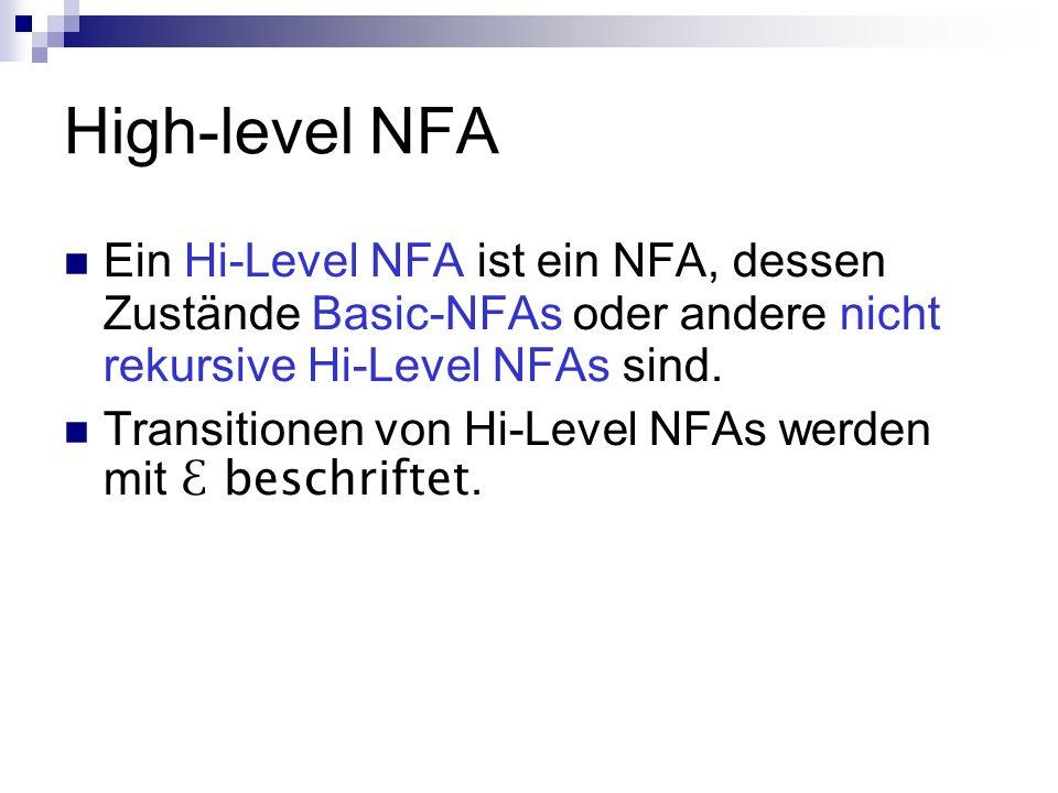 High-level NFA Ein Hi-Level NFA ist ein NFA, dessen Zustände Basic-NFAs oder andere nicht rekursive Hi-Level NFAs sind.