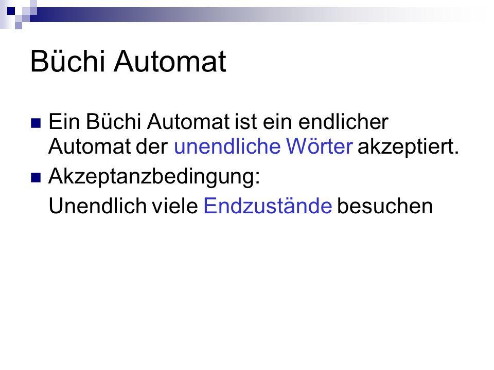 Büchi Automat Ein Büchi Automat ist ein endlicher Automat der unendliche Wörter akzeptiert. Akzeptanzbedingung: