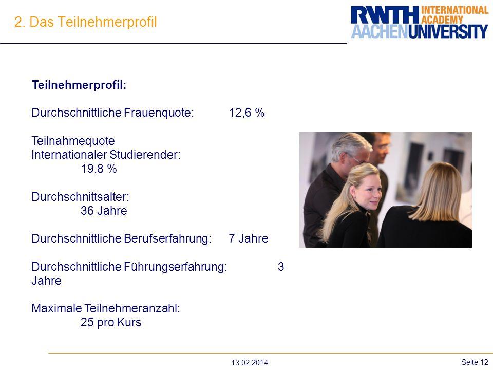 2. Das Teilnehmerprofil Teilnehmerprofil: