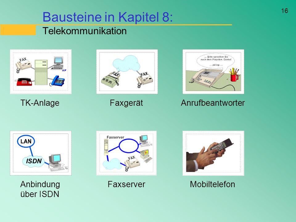 Bausteine in Kapitel 8: Telekommunikation