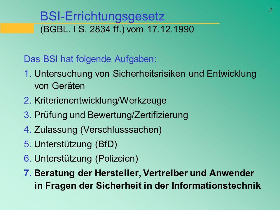 BSI-Errichtungsgesetz (BGBL. I S. 2834 ff.) vom 17.12.1990