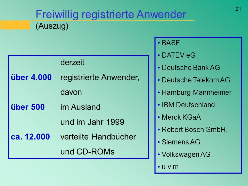 Freiwillig registrierte Anwender (Auszug)