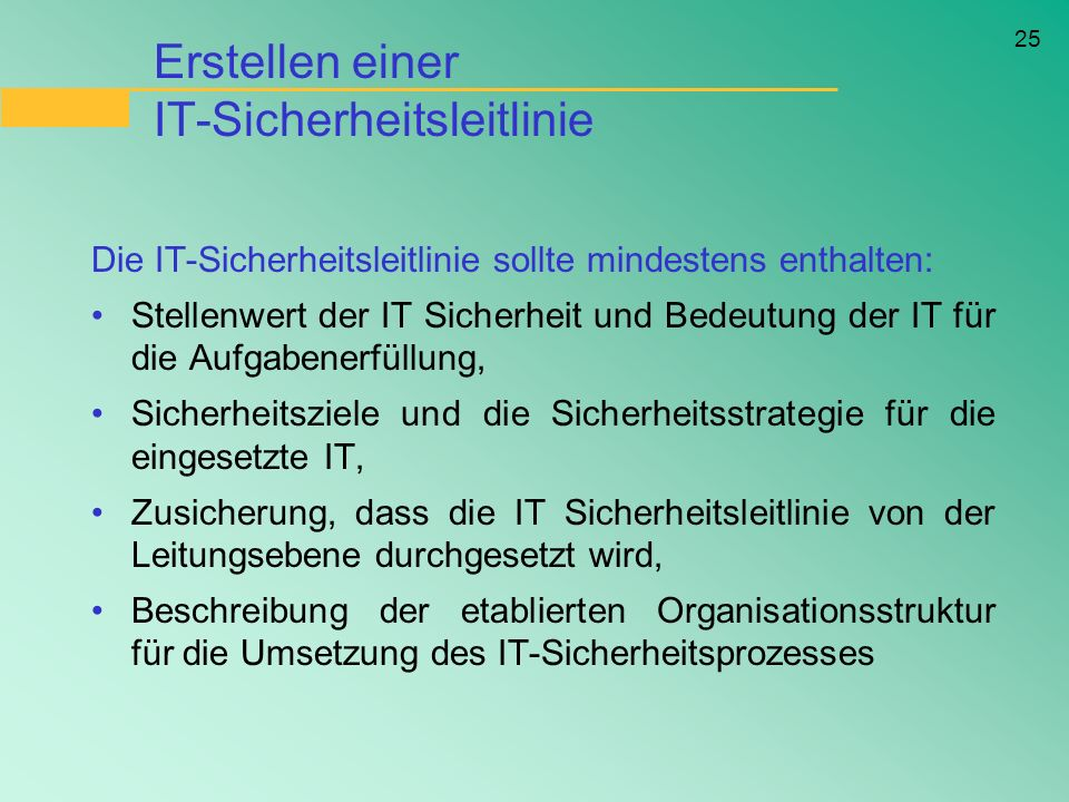 Erstellen einer IT-Sicherheitsleitlinie