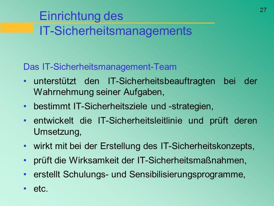 Einrichtung des IT-Sicherheitsmanagements