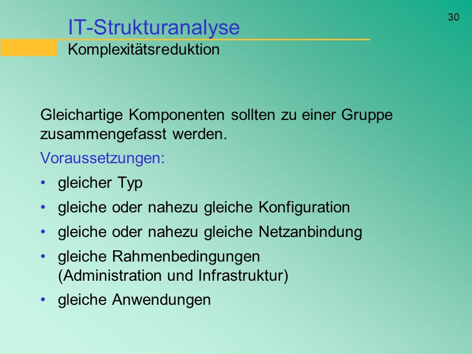 IT-Strukturanalyse Komplexitätsreduktion