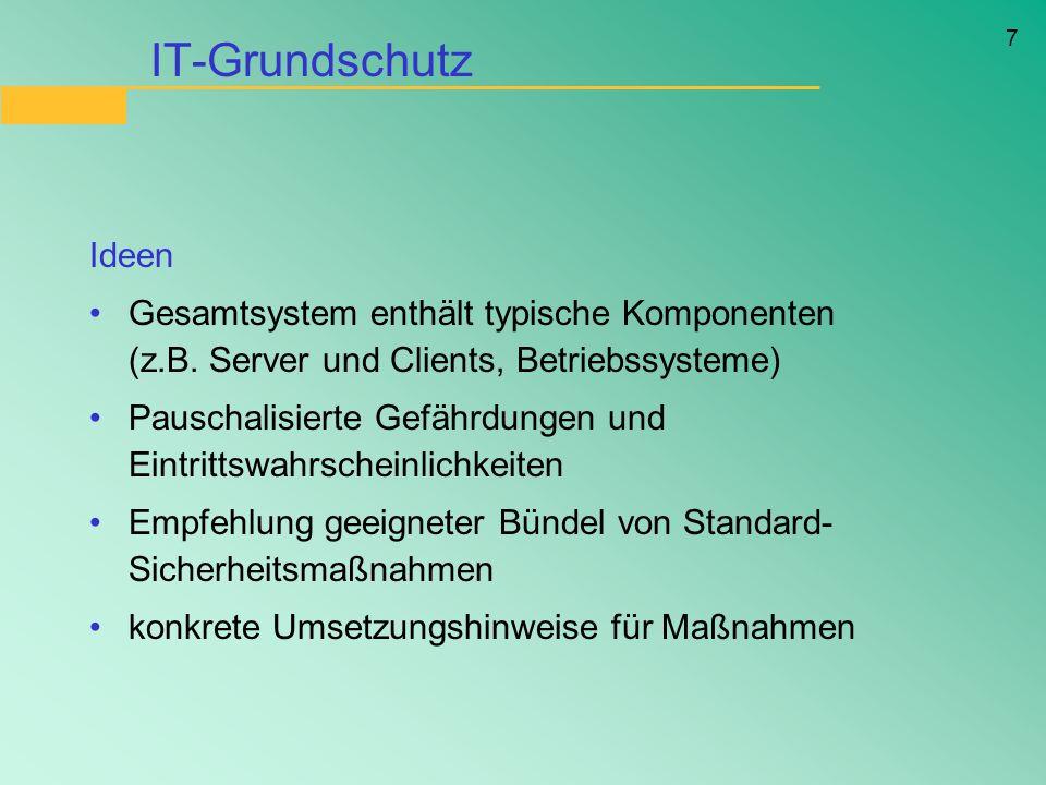 IT-Grundschutz Ideen. Gesamtsystem enthält typische Komponenten (z.B. Server und Clients, Betriebssysteme)
