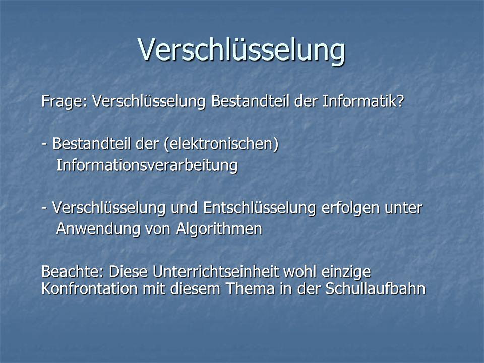 Verschlüsselung Frage: Verschlüsselung Bestandteil der Informatik