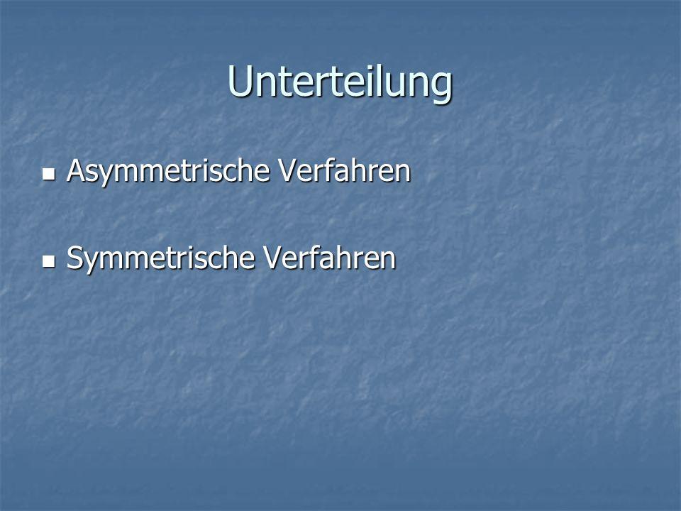 Unterteilung Asymmetrische Verfahren Symmetrische Verfahren