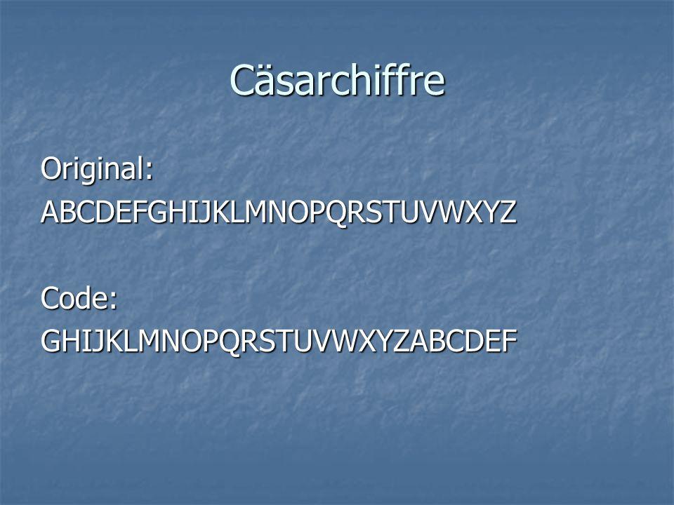 Cäsarchiffre Original: ABCDEFGHIJKLMNOPQRSTUVWXYZ Code: