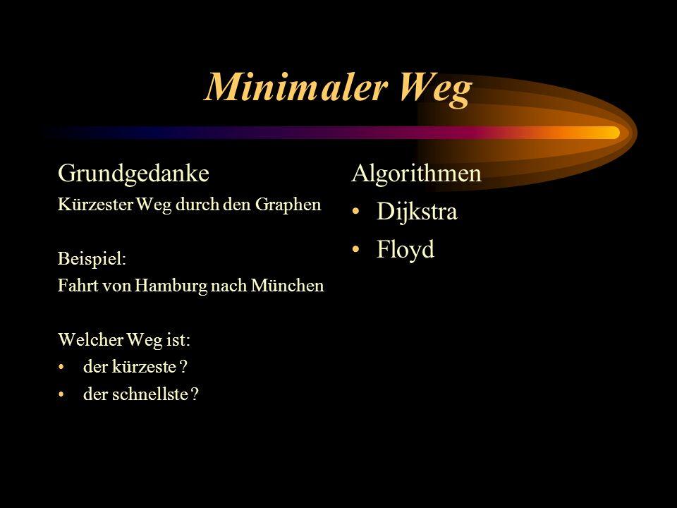 Minimaler Weg Grundgedanke Algorithmen Dijkstra Floyd