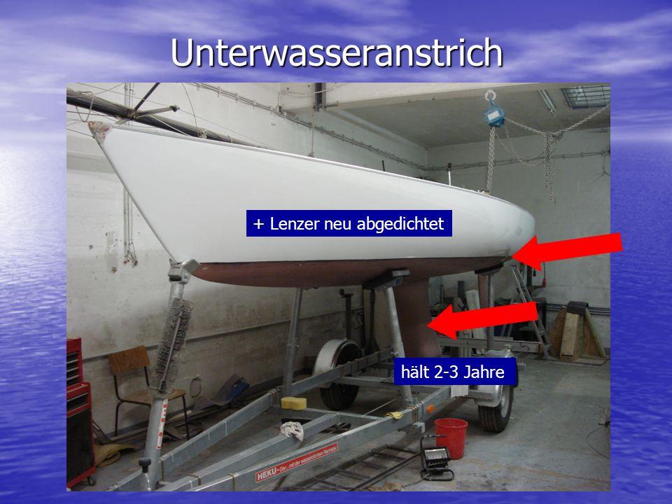 Unterwasseranstrich + Lenzer neu abgedichtet hält 2-3 Jahre