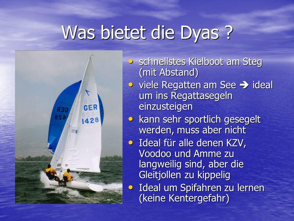 Was bietet die Dyas schnellstes Kielboot am Steg (mit Abstand)