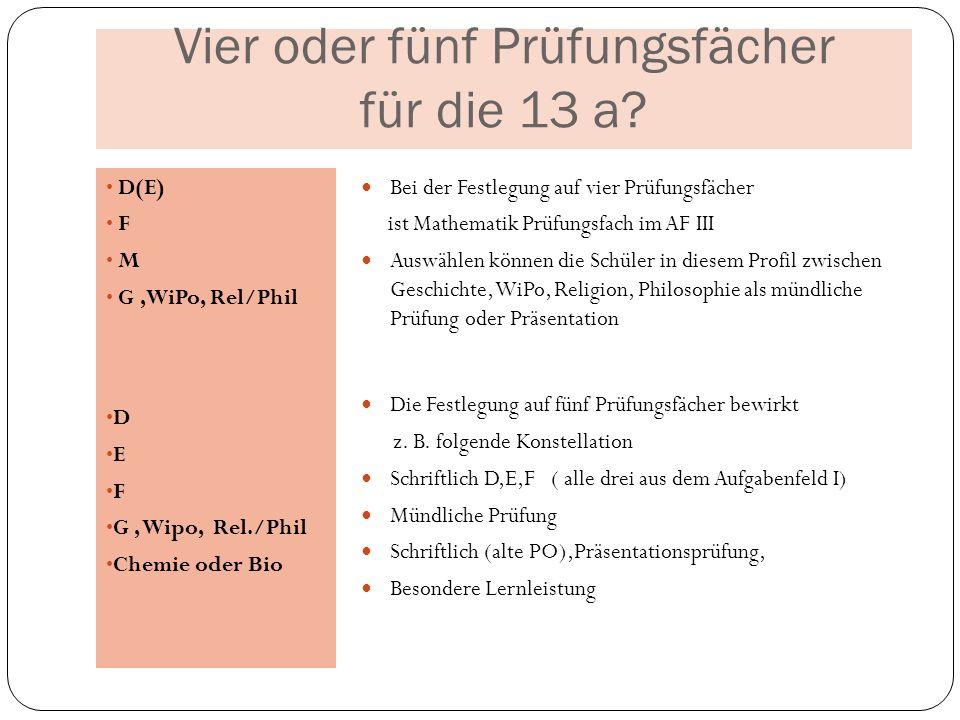 Vier oder fünf Prüfungsfächer für die 13 a