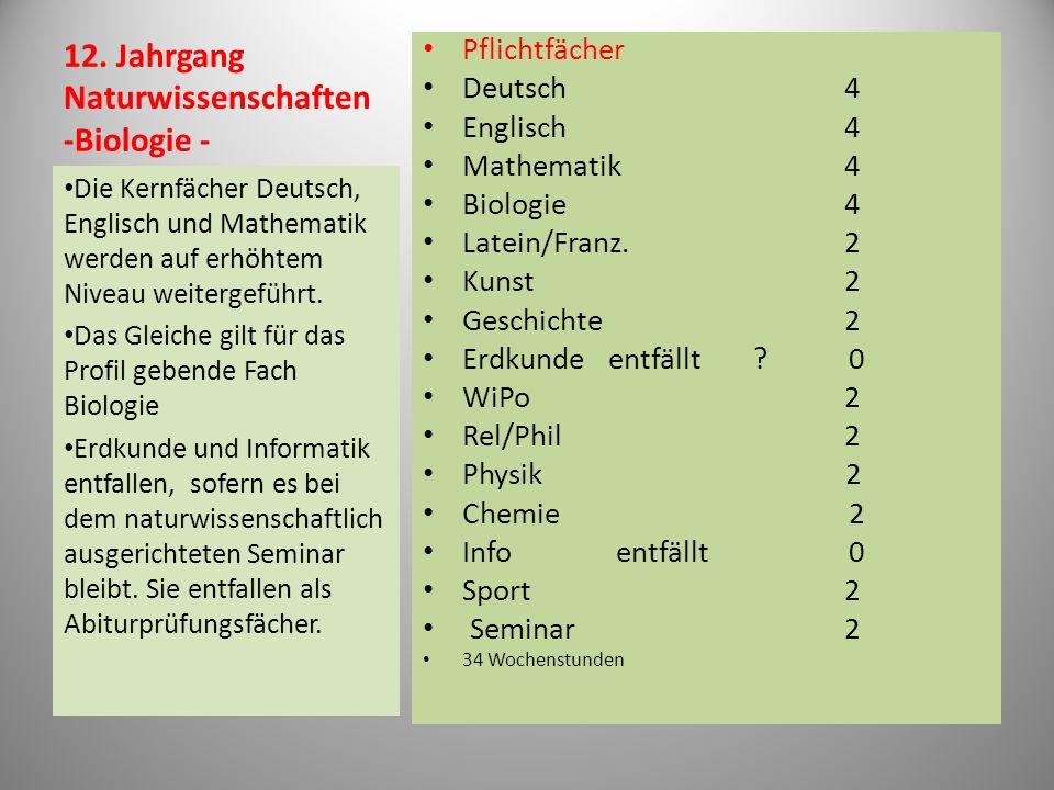 12. Jahrgang Naturwissenschaften -Biologie -