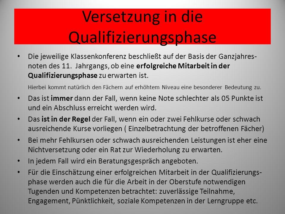 Versetzung in die Qualifizierungsphase
