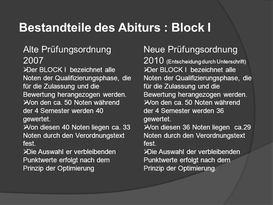 Bestandteile des Abiturs : Block I