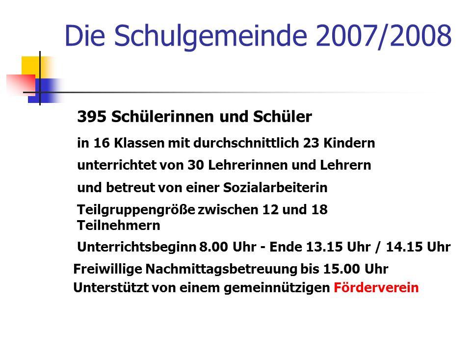 Die Schulgemeinde 2007/2008 395 Schülerinnen und Schüler
