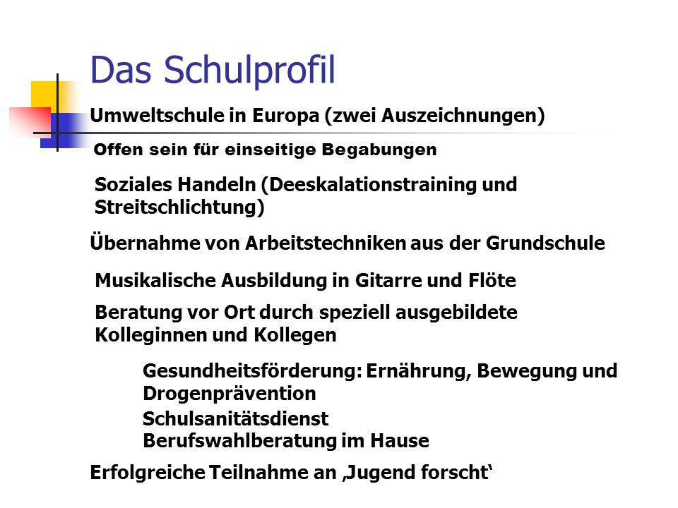 Das Schulprofil Umweltschule in Europa (zwei Auszeichnungen)