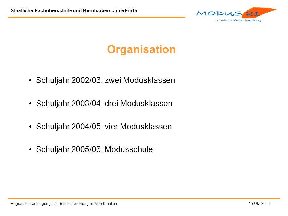 Organisation Schuljahr 2002/03: zwei Modusklassen