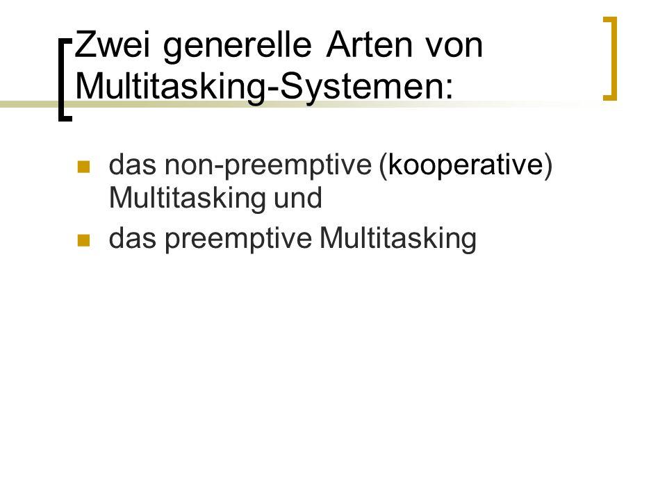 Zwei generelle Arten von Multitasking-Systemen: