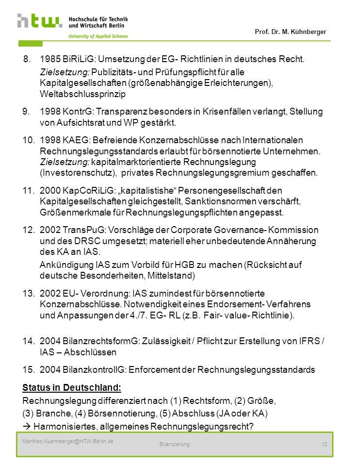 15. 2004 BilanzkontrollG: Enforcement der Rechnungslegungsstandards