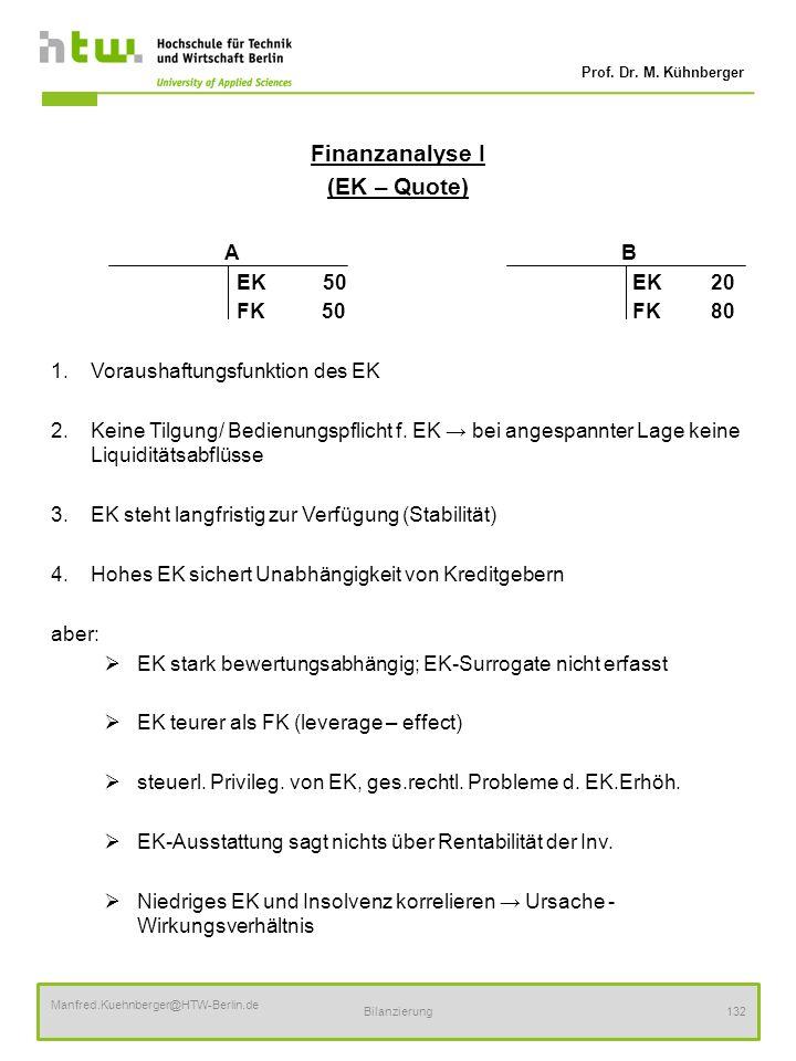 Finanzanalyse I (EK – Quote) A B EK 50 EK 20 FK 50 FK 80
