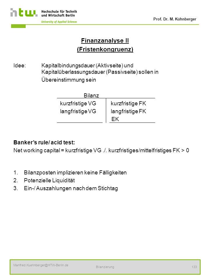 Finanzanalyse II (Fristenkongruenz)