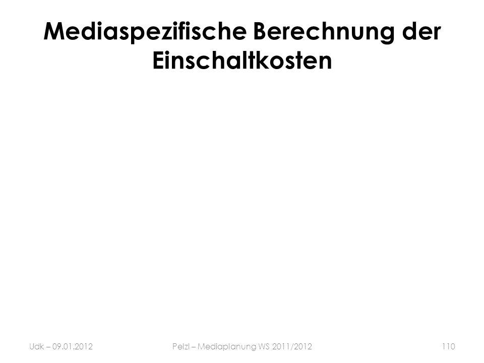 Mediaspezifische Berechnung der Einschaltkosten