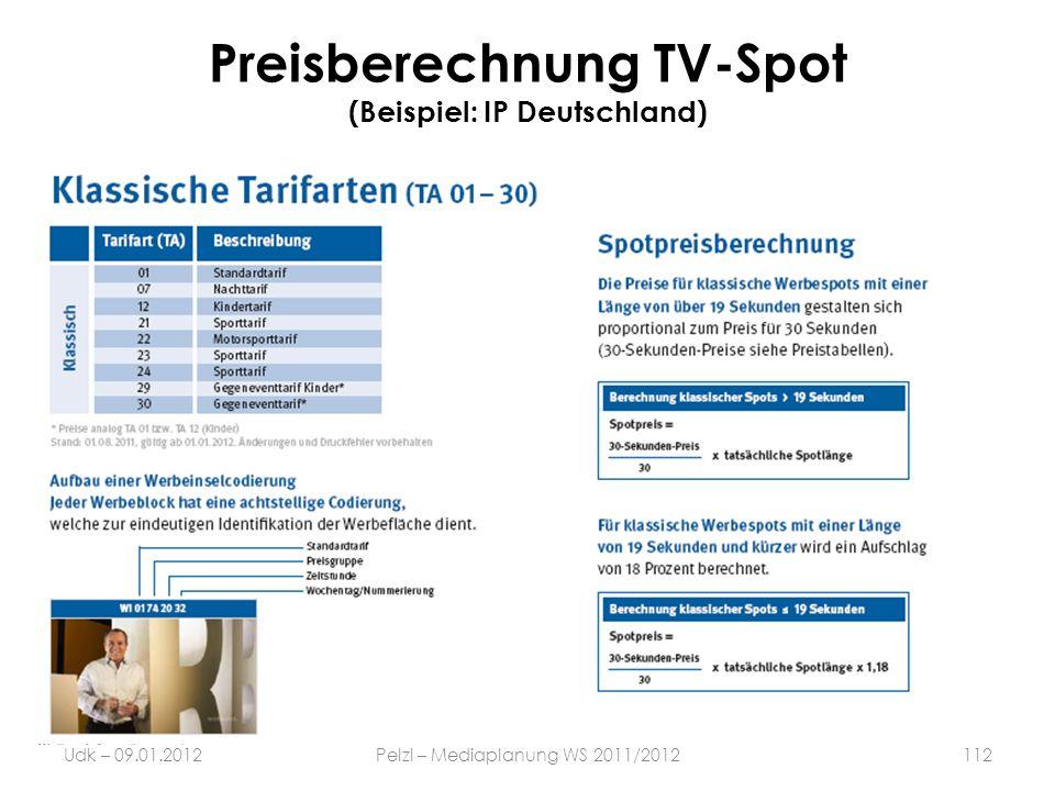 Preisberechnung TV-Spot (Beispiel: IP Deutschland)