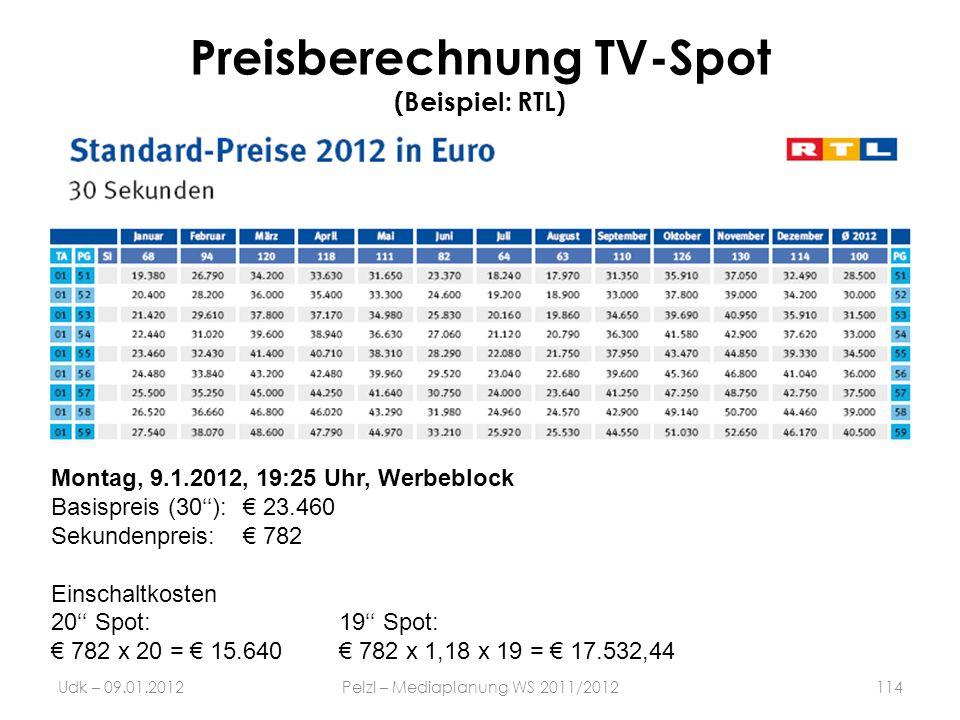 Preisberechnung TV-Spot (Beispiel: RTL)