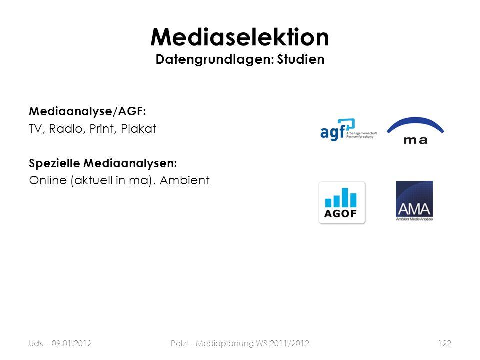 Mediaselektion Datengrundlagen: Studien