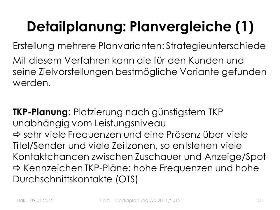 Detailplanung: Planvergleiche (1)