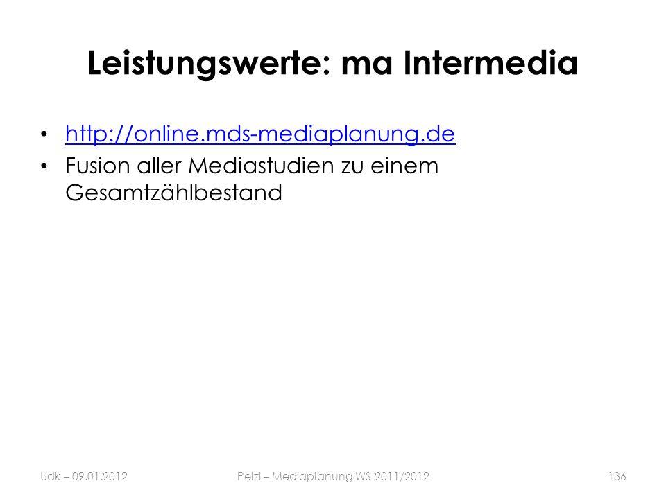 Leistungswerte: ma Intermedia