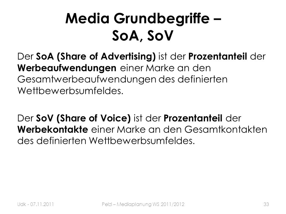 Media Grundbegriffe – SoA, SoV