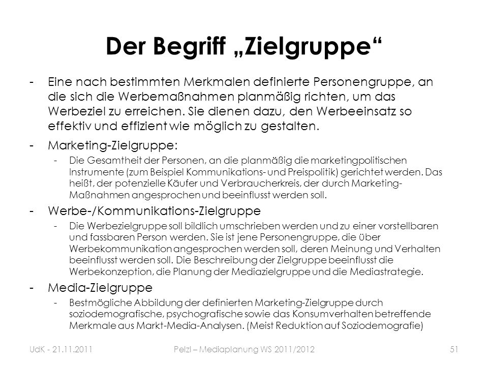 """Der Begriff """"Zielgruppe"""